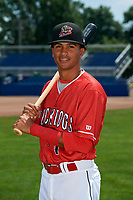 Batavia Muckdogs Gerardo Nunez (1) poses for a photo on July 2, 2018 at Dwyer Stadium in Batavia, New York.  (Mike Janes/Four Seam Images)