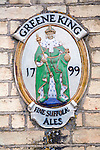 Old sign for Greene King fine Suffolk ales since 1799, England