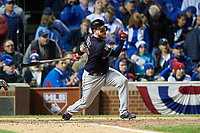 Cleveland Indians Roberto Perez (55) bats in the fifth inning during Game 5 of the Major League Baseball World Series against the Chicago Cubs on October 30, 2016 at Wrigley Field in Chicago, Illinois.  (Mike Janes/Four Seam Images)