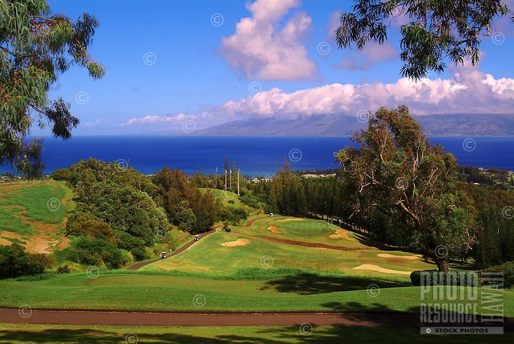 Golf players in the distance at Kapalua, Maui, Hawaii