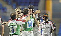 Reading, GREAT BRITAIN,   Left Justin BISHOP and Justin HARRISON disagree about a incident of the ball , during the third round Heineken Cup game, London Irish vs Ulster Rugby, at the Madejski Stadium, Reading ENGLAND, Sa, t 09.12.2006. [Photo Peter Spurrier/Intersport Images]..