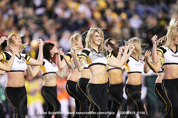 September 18, 2009; Hamilton, ON, CAN; Hamilton Tiger-Cats cheerleaders. CFL football: Calgary Stampeders vs. Hamilton Tiger-Cats at Ivor Wynne Stadium. The Tiger-Cats defeated the Stampeders 24-17. Mandatory Credit: Ron Scheffler. Copyright (c) 2009 Ron Scheffler.