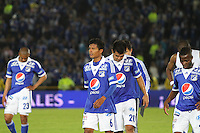 BOGOTA -COLOMBIA, 26-06-2013. Jugadores de Millonarios al final del partido con el Cali estadio Nemesio  Camacho El Campín de la ciudad de Bogotá./   Players of Millonarios after final match, dated 4, 2013-1 Postobón the League played in the Estadio Nemesio Camacho El Campin in Bogota. <br /> . Photo: VizzorImage/ Felipe Caicedo/ STAFF