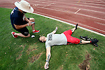 CARSON, CA - JULY 13:  An athlete rests during the 2012 Crossfit Games on July 13, 2012 at the Home Depot Center in Carson, California. (Photo by Donald Miralle) *** Local Caption *** .