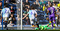 Blackburn Rovers' David Raya saves the penalty from Stoke City's Bojan Krkic<br /> <br /> Photographer Alex Dodd/CameraSport<br /> <br /> The EFL Sky Bet Championship - Blackburn Rovers v Stoke City - Saturday 6th April 2019 - Ewood Park - Blackburn<br /> <br /> World Copyright © 2019 CameraSport. All rights reserved. 43 Linden Ave. Countesthorpe. Leicester. England. LE8 5PG - Tel: +44 (0) 116 277 4147 - admin@camerasport.com - www.camerasport.com