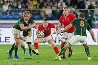 27th October 2019, Oita, Japan;  Gareth Davies of Wales looks to break tackles during the 2019 Rugby World Cup semi-final match between Wales and South Africa at International Stadium Yokohama in Kanagawa, Japan on October 27, 2019.  - Editorial Use