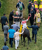 BALTIMORE, MD - MAY 20: Javier Castellano, aboard Cloud Computing  #2, is led to the winner's circle after winning the 142nd Preakness Stakes on Preakness Stakes Day at Pimlico Race Course on May 20, 2017 in Baltimore, Maryland. (Photo by Dan Heary/Eclipse Sportswire/Getty Images)