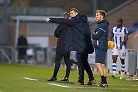 Matt Taylor, Manager of Exeter City tries to get his message across during Colchester United vs Exeter City, Sky Bet EFL League 2 Football at the JobServe Community Stadium on 24th November 2018