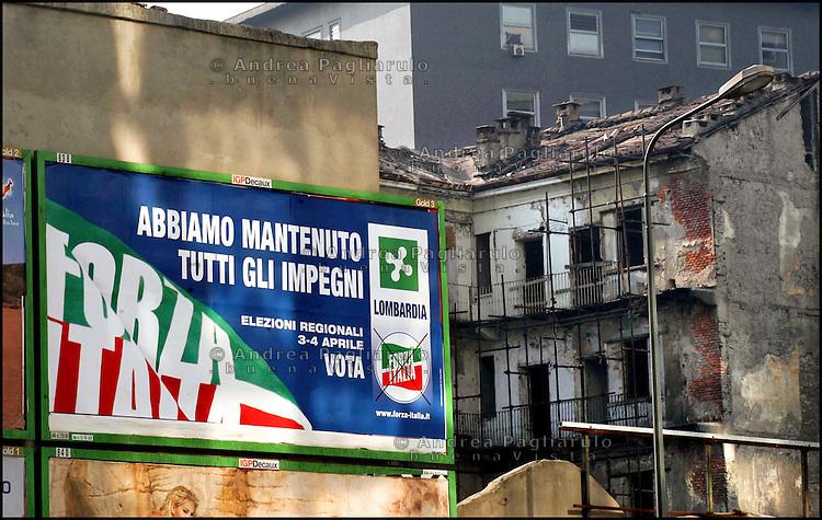 Milano, manifesti elettorali di Forza Italia.<br /> Milan, Forza Italia electoral poster.