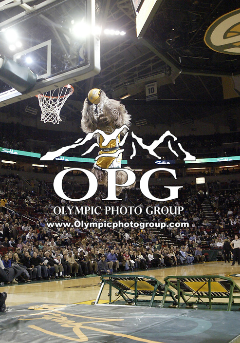 January 25, 2008:  Seattle Supersonics mascot Squatch entertained the crowd against the Atlanta Hawks at Key Arena.  The Atlanta Hawks won 99-90 over the Seattle SuperSonics at Key Arena in Seattle, WA.