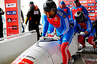 Alexander Zubkov of Russia at the 4 man World Cup Bobsled Race at Lake Placid, New York