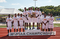 The Cleveland NJROTC boys pose with their Class 2 second-place team trophy at the Missouri Class 1 and 2 State Track and Field Championships in Jefferson City, Saturday, May 21.