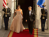 United States President Barack Obama and First Lady Michelle Obama enter the North Portico to await the arrival of guests at the State Dinner while participating in the U.S.- Nordic Leaders Summit at The White House in Washington, DC, May 13, 2016.<br /> Credit: Chris Kleponis / CNP
