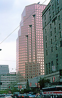 Vancouver: Park Plaza Building--666 Burrard. Hotel Vancouver in right foreground. Photo '86.