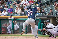 Jamie Romak (27) of the Reno Aces at bat against the Salt Lake Bees in Pacific Coast League action at Smith's Ballpark on May 10, 2015 in Salt Lake City, Utah. Salt Lake defeated Reno 9-2 in Game One of the double-header.  (Stephen Smith/Four Seam Images)