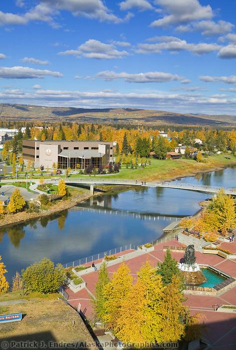 Downtown Fairbanks Alaska overlooking the Golden Heart Park, Chena River and the Centennial Bridge.