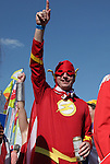 17 June 2006: An American fan dressed up as the comic superhero The Flash. Italy played the United States at Fritz-Walter Stadion in Kaiserslautern, Germany in match 25, a Group E first round game, of the 2006 FIFA World Cup.