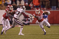 NWA Democrat-Gazette/BEN GOFF @NWABENGOFF<br /> Drew Morgan, Arkansas wide receiver, runs the ball as Dominique Reed screens off Taveze Calhoun of Mississippi State on Saturday Nov. 21, 2015 during the game in Razorback Stadium in Fayetteville.