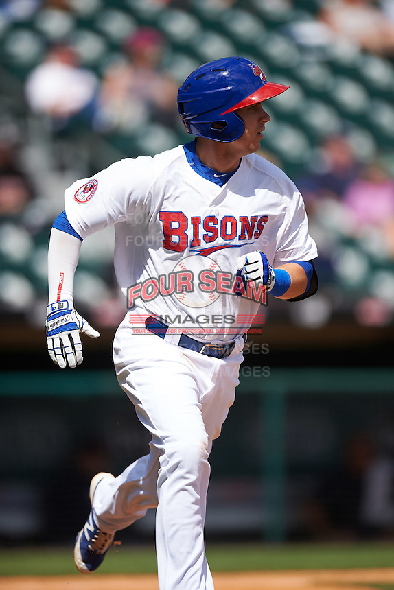 Buffalo Bisons second baseman Andy Burns (8) during a game against the Toledo Mudhens on May 18, 2016 at Coca-Cola Field in Buffalo, New York.  Buffalo defeated Toledo 7-5.  (Mike Janes/Four Seam Images)