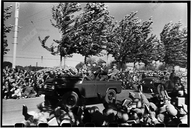 The procession following Mao's jeep carry his would-be successor, Vice-Chairman Marshal Lin Biao (shown here), Premier Zhou Enlai, and Mao's wife, Jiang Qing. Beijing, 18 October 1966