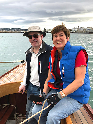 Guy & Jackie Kilroy on their restored 1896 gaff sloop Marguerite. Photo: Ian Malcolm
