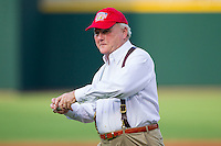 """Howard """"Humpy"""" Wheeler prepares to throw out a ceremonial first pitch prior to the game between the Gwinnett Braves and the Charlotte Knights at BB&T Ballpark on August 19, 2014 in Charlotte, North Carolina.  Wheeler is the former President and General Manager of Charlotte Motor Speedway.   (Brian Westerholt/Four Seam Images)"""