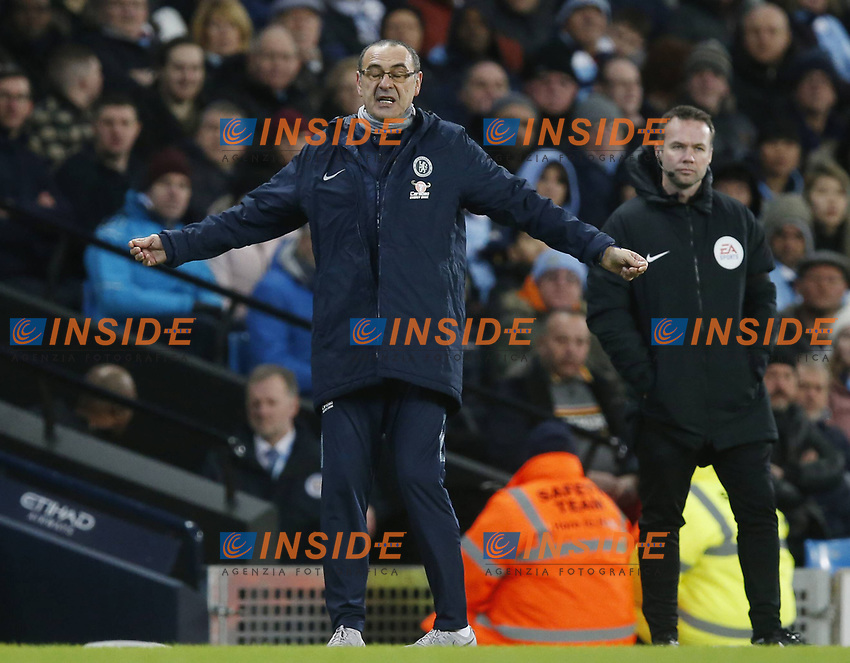 Dejehcted Maurizio Sarri manager of Chelsea during the Premier League match at the Etihad Stadium, Manchester. Picture date: 10th February 2019. Picture credit should read: Andrew Yates/Sportimage/Imago/Insidefoto PUBLICATIONxNOTxINxUK _AY29502.JPG<br /> ITALY ONLY