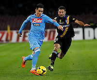 Jose Callejon challenged by  Daniele galloppa in action during the Italian Serie A soccer match between SSC Napoli and Parma FC at San Paolo stadium in Naples