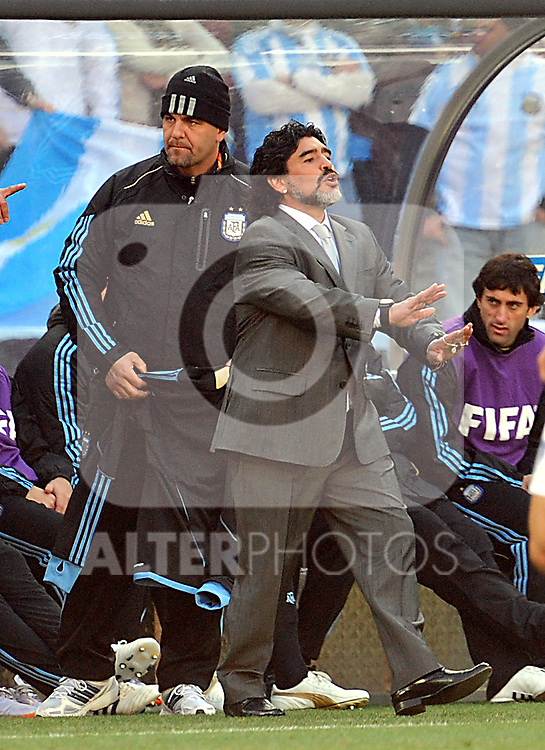 Diego Maradona during the 2010 World Cup Soccer match between Argentina vs Korea Republic played at Soccer City in Johannesburg, South Africa on 17 June 2010.
