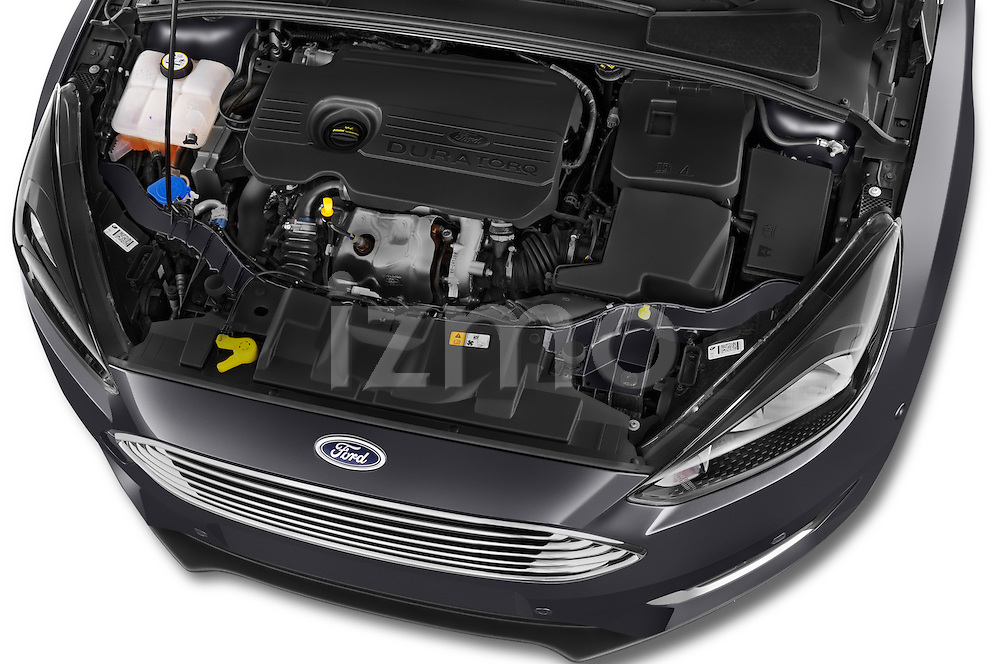 Car Stock 2015 Ford Focus Titanium 5 Door Wagon Engine high angle detail view