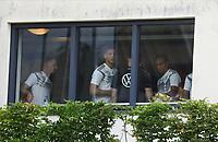 Marco Reus (Deutschland, Germany), Leon Goretzka (Deutschland Germany) und Serge Gnabry (Deutschland Germany) im Fitnessraum - 03.06.2019: Trainingslager der Deutschen Nationalmannschaft zur EM-Qualifikation in Venlo/NL