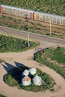 Ordway, Colorado. Railroad, road and grain silos.  Aug 2010