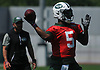 Teddy Bridgewater #5, New York Jets quarterback, throws a pass during OTAs held at the Atlantic Health Jets Training Center in Florham Park, NJ on Tuesday, May 29, 2018.