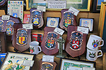 Shop window display of family coat of arms shields, Dublin, Ireland, Irish republic