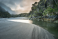 Dawn at Smoothwater River estuary near Jackson Bay, South Westland, West Coast, World Heritage Area, South Island, New Zealand