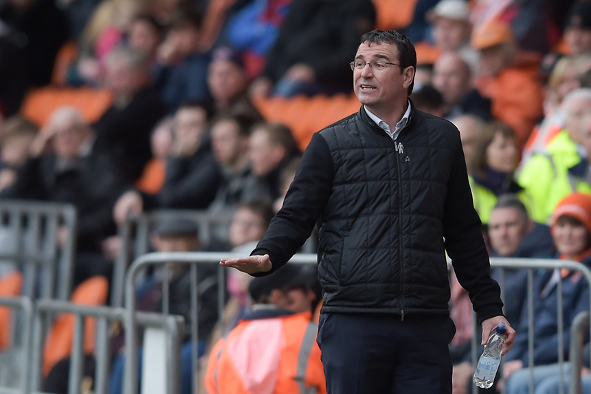 Blackpool manager Gary Bowyer <br /> <br /> Photographer Terry Donnelly/CameraSport<br /> <br /> The EFL Sky Bet League Two - Blackpool v Accrington Stanley - Friday 14th April 2017 - Bloomfield Road - Blackpool<br /> <br /> World Copyright &copy; 2017 CameraSport. All rights reserved. 43 Linden Ave. Countesthorpe. Leicester. England. LE8 5PG - Tel: +44 (0) 116 277 4147 - admin@camerasport.com - www.camerasport.com