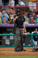 Umpire Mike Rains calls a strike during an Eastern League game between the Portland Sea Dogs and Erie SeaWolves on June 17, 2019 at UPMC Park in Erie, Pennsylvania.  Portland defeated Erie 6-3.  (Mike Janes/Four Seam Images)