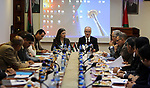 Palestinian Prime Minister, Rami Hamdallah, speaks during a meeting of the Advisory Council, in the West bank city of May 25, 2017. Photo by Prime Minister Office