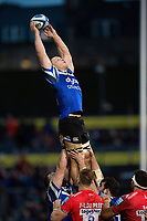 Sam Underhill of Bath Rugby wins the ball at a lineout. Gallagher Premiership match, between Bath Rugby and Sale Sharks on December 2, 2018 at the Recreation Ground in Bath, England. Photo by: Patrick Khachfe / Onside Images
