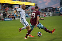 SAN JOSÉ CA - JULY 27: Magnus Eriksson #7, Sam Vines #13 during a Major League Soccer (MLS) match between the San Jose Earthquakes and the Colorado Rapids on July 27, 2019 at Avaya Stadium in San José, California.