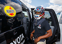 Jul 8, 2017; Joliet, IL, USA; NHRA top fuel driver Antron Brown during qualifying for the Route 66 Nationals at Route 66 Raceway. Mandatory Credit: Mark J. Rebilas-USA TODAY Sports