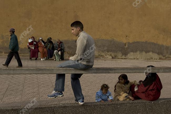 Street scene near the medina in Casablanca, Morocco.
