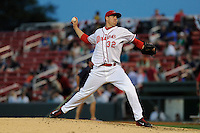 Starting pitcher Pat Light (32) of the Greenville Drive throws in a game against the Kannapolis Intimidators on Friday, April 11, 2014, at Fluor Field at the West End in Greenville, South Carolina. Light was a supplemental pick (37th overall) by the Boston Red Sox in the 2013 First-Year Player Draft. (Tom Priddy/Four Seam Images)