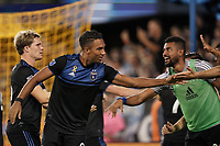 SAN JOSE, CA - SEPTEMBER 25: Danny Hoesen #9 of the San Jose Earthquakes celebrates a goal during a Major League Soccer (MLS) match between the San Jose Earthquakes and the Philadelphia Union on September 25, 2019 at Avaya Stadium in San Jose, California.