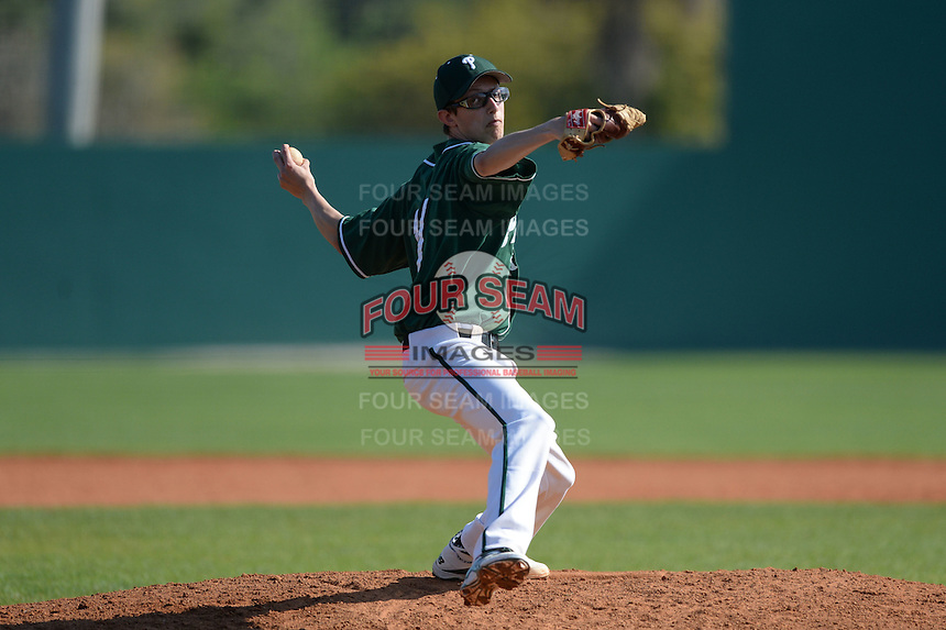 Plymouth State Panthers Steven Knox (17) during the first game of a doubleheader against the Edgewood Eagles on March 17, 2015 at Terry Park in Fort Myers, Florida.  Edgewood defeated Plymouth State 12-3.  (Mike Janes/Four Seam Images)