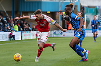 Fleetwood Town's Wes Burns competing with Gillingham's Gabriel Zakuani<br /> <br /> Photographer Andrew Kearns/CameraSport<br /> <br /> The EFL Sky Bet League One - Gillingham v Fleetwood Town - Saturday 3rd November 2018 - Priestfield Stadium - Gillingham<br /> <br /> World Copyright &copy; 2018 CameraSport. All rights reserved. 43 Linden Ave. Countesthorpe. Leicester. England. LE8 5PG - Tel: +44 (0) 116 277 4147 - admin@camerasport.com - www.camerasport.com