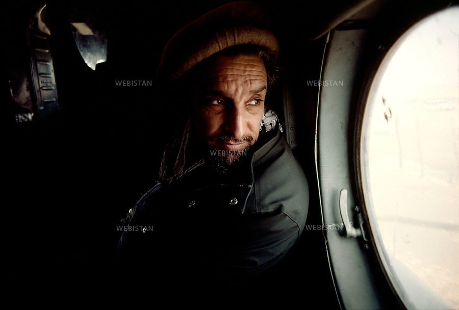 Afghanistan. Takhar Province. 2000. Portrait of Commander Massoud (1953-2001), chief of the Northern Alliance, in an helicopter. <br /> <br /> Afghanistan. Province du Takhar. 2000. Portrait du commandant Massoud (1953-2001), chef de l'Alliance du Nord, dans un h&eacute;licopt&egrave;re.