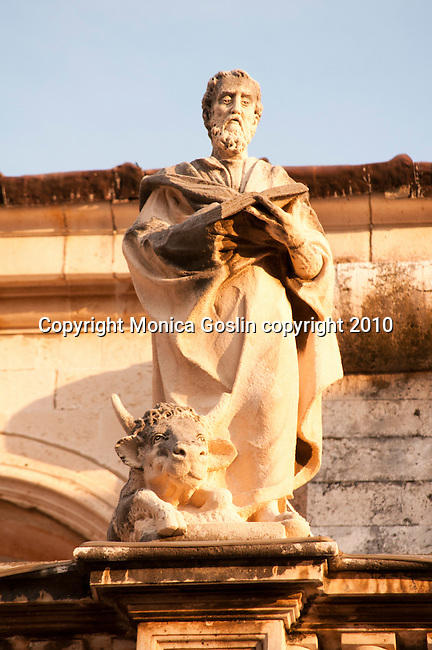 Statue on the roof of the Cathedral in Dubrovnik, Croatia.