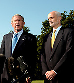 Washington, D.C. - September 2, 2005 -- United States President George W. Bush makes remarks before departing on his trip to view areas ravaged by Hurricane Katrina at the White House on September 2, 2005.  In his remarks the President said the relief efforts are not acceptable.  At right is United States Secretary of Homeland Security Michael Chertoff. <br /> Credit: Ron Sachs - Pool via CNP