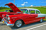 Sharp 55 Chevy Belair at custom car show at Mineral Beach in Finleyville PA. near Pittsburgh.